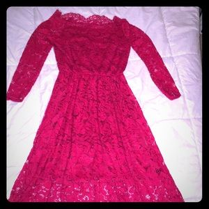 Dresses & Skirts - Red lace over the shoulder dress, size S